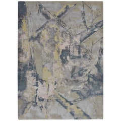 Modern Abstract Rug with Beige and Black Distressed Pattern by Rug & Kilim