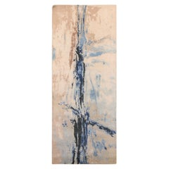 Modern Abstract Rug with Beige and Blue Distressed Pattern by Rug & Kilim