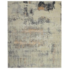 Modern Abstract Rug with Beige and Silver-Gray All-Over Pattern by Rug & Kilim