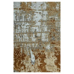 Modern Abstract Rug with Beige Brown and White All-Over Pattern by Rug & Kilim
