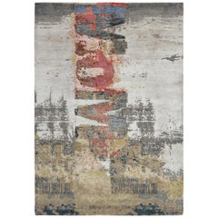 Modern Abstract Rug with Beige Gray and Red All-Over Pattern by Rug & Kilim
