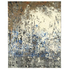 Modern Abstract Rug with Black and Blue Distressed Pattern by Rug & Kilim