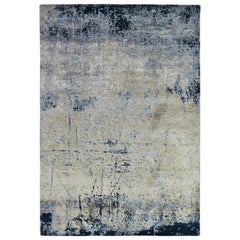Modern Abstract Rug with Blue and Gray All-Over Pattern by Rug & Kilim