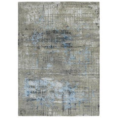 Modern Abstract Rug with Gray and Blue All-Over Pattern by Rug & Kilim