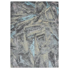 Modern Abstract Rug with Gray and Blue Distressed Pattern by Rug & Kilim
