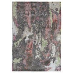 Modern Abstract Rug with Gray and Red All-Over Pattern by Rug & Kilim