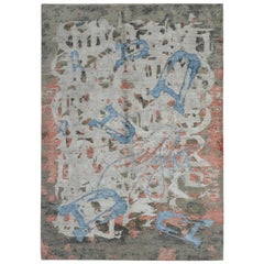 Modern Abstract Rug with Gray Red and Blue All-Over Pattern by Rug & Kilim