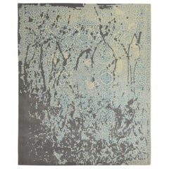 Modern Abstract Rug with Gray White and blue All-Over Pattern by Rug & Kilim