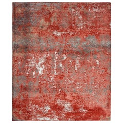 Modern Abstract Rug with Red and Gray All-Over Pattern by Rug & Kilim