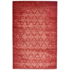 Modern Abstract Rug with Red and White All-Over Floral Pattern by Rug & Kilim