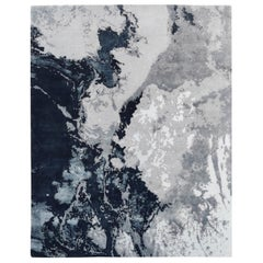 Modern Abstract Rug with Silver Gray and Blue All-Over Pattern by Rug & Kilim