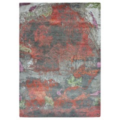 Modern Abstract Rug with Silver Gray and Red Distressed Pattern by Rug & Kilim