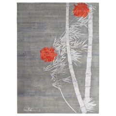 Modern Abstract Rug with Silver-Gray and Red Floral Pattern by Rug & Kilim