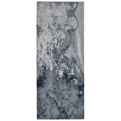 Modern Abstract Rug with White and Blue All-Over Pattern by Rug & Kilim