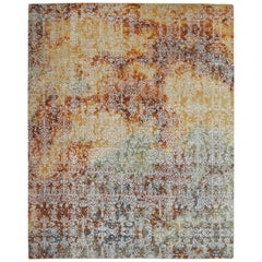 Modern Abstract Rug with Yellow and Green All-Over Pattern by Rug & Kilim
