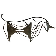 "Modern Abstract Three-Dimensional Brass Sculpture ""Bull"""