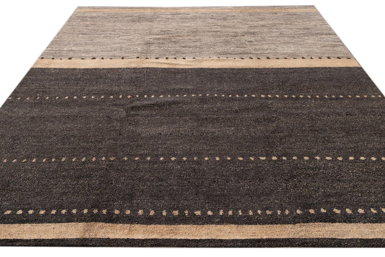Modern Abstract Tibetan Room Size Wool Rug In New Condition For Sale In Norwalk, CT