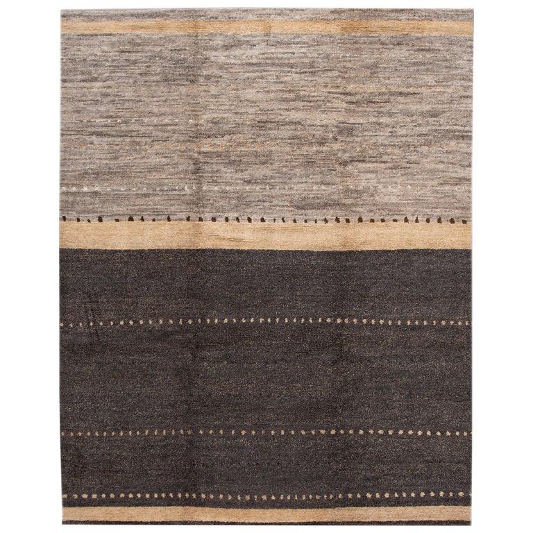 Modern Abstract Tibetan Room Size Wool Rug For Sale