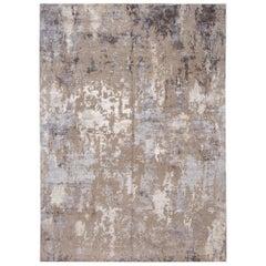 Modern Abstract Wool and Silk Handmade Rug