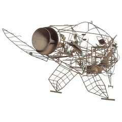 Modern Abstraction Metal Wire Art Kinetic Sculpture Style Curtis Jere 1960s