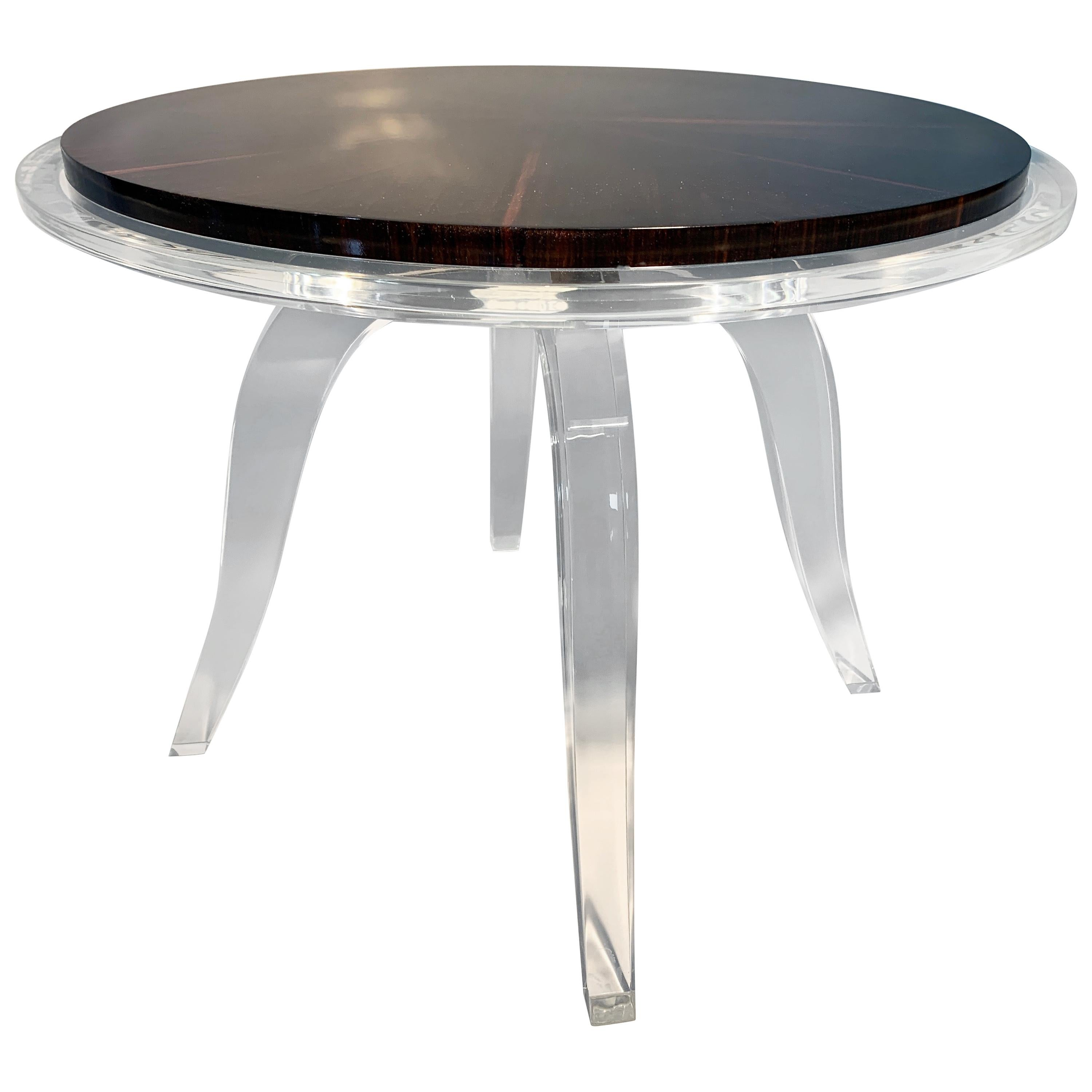 Modern Acrylic and Macassar Ebony Round Side Table, in Stock
