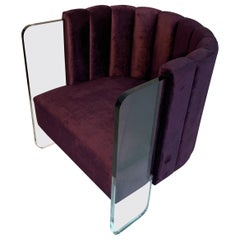 Modern Acrylic and Upholstered Lounge Chair by Jonathan Franc, in Stock