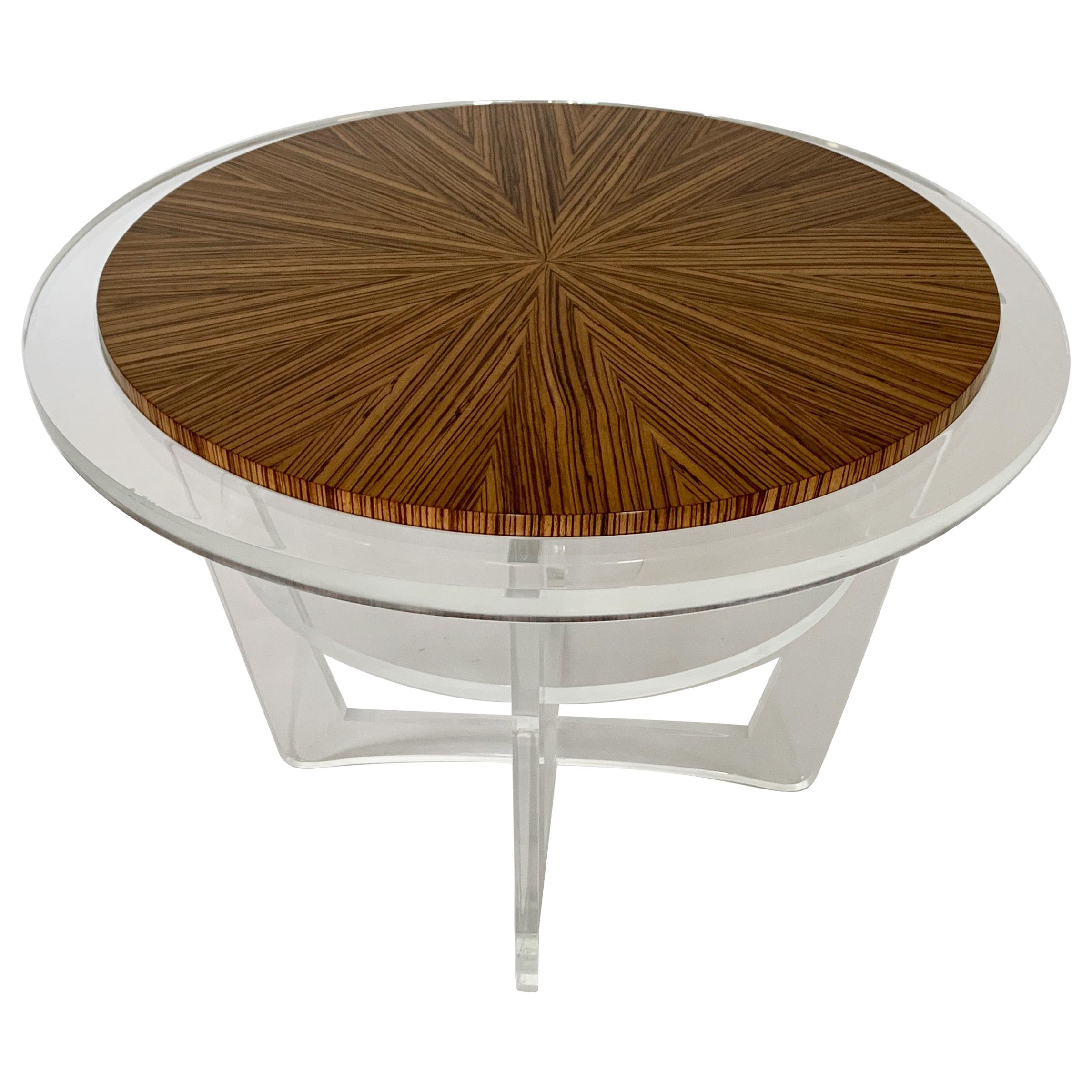 Modern Acrylic and Zebra Wood Side Table In Stock