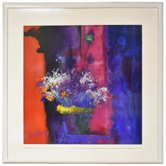 Modern Acrylic Painting Impressionistic Floral Still Life by Al Lachman
