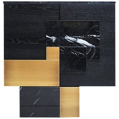 Modern Adam Black Marble Brushed Brass Ash Veneer Storage Cabinet