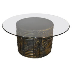 Modern Adrian Pearsall Brutalist Coffee Table Glass Top