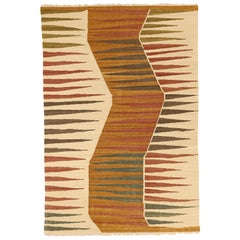 Modern Afghan Flat-Weave Kilim Rug with Red and Navy on Ivory Field