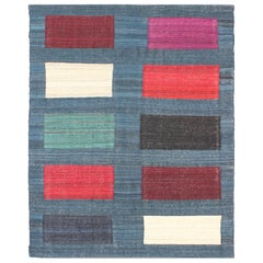 Modern Afghan Flat-Weave Rug in Steal Blue and Multicolored Blocks