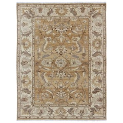 Modern Afghan Floral Pattern in Earth Tones with Browns and Cream