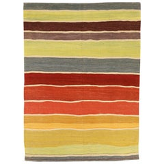 Modern Afghan Kilim Style Rug with Colored Stripes on Beige Field