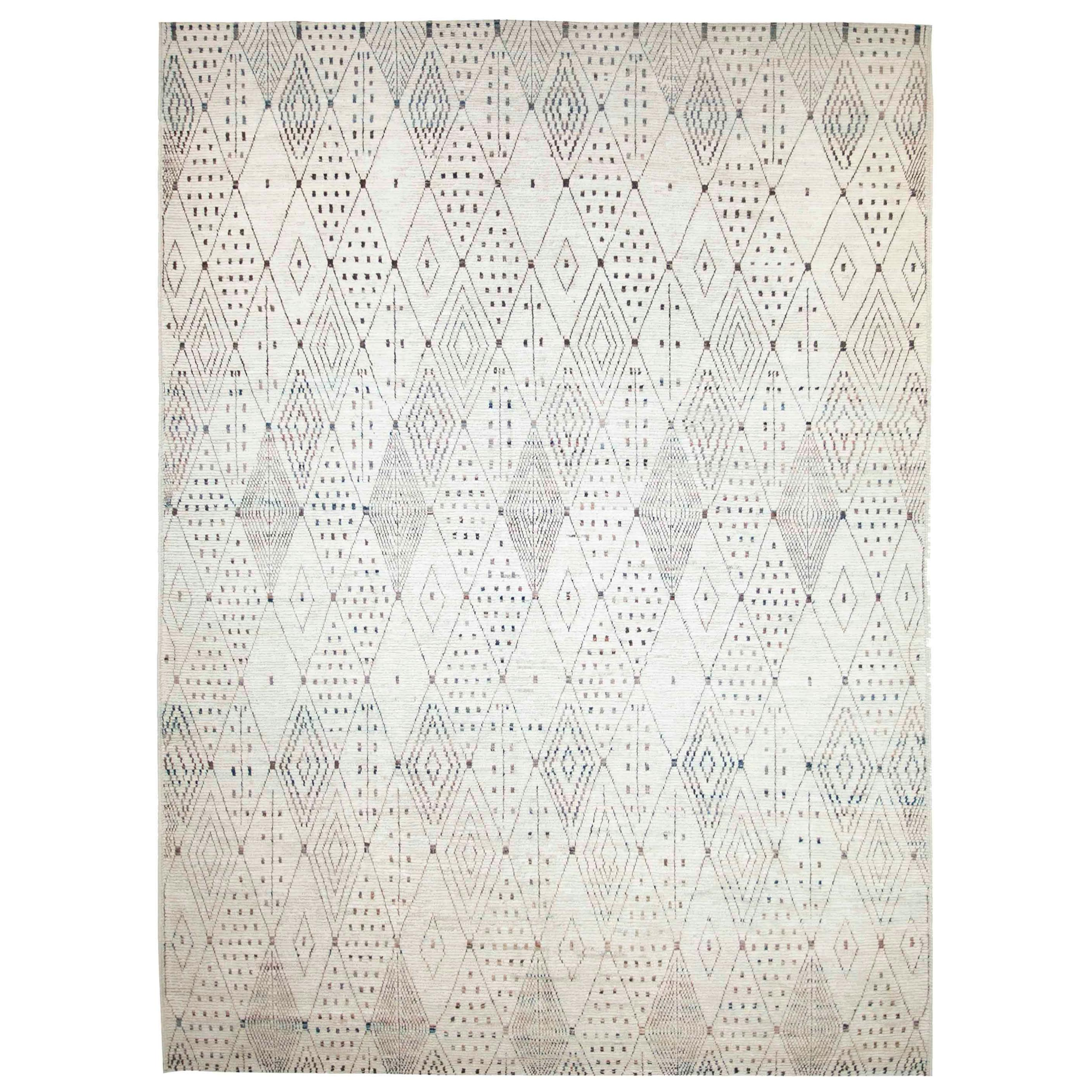 Modern Afghan Moroccan Style Rug with Black and Brown Tribal Patterns