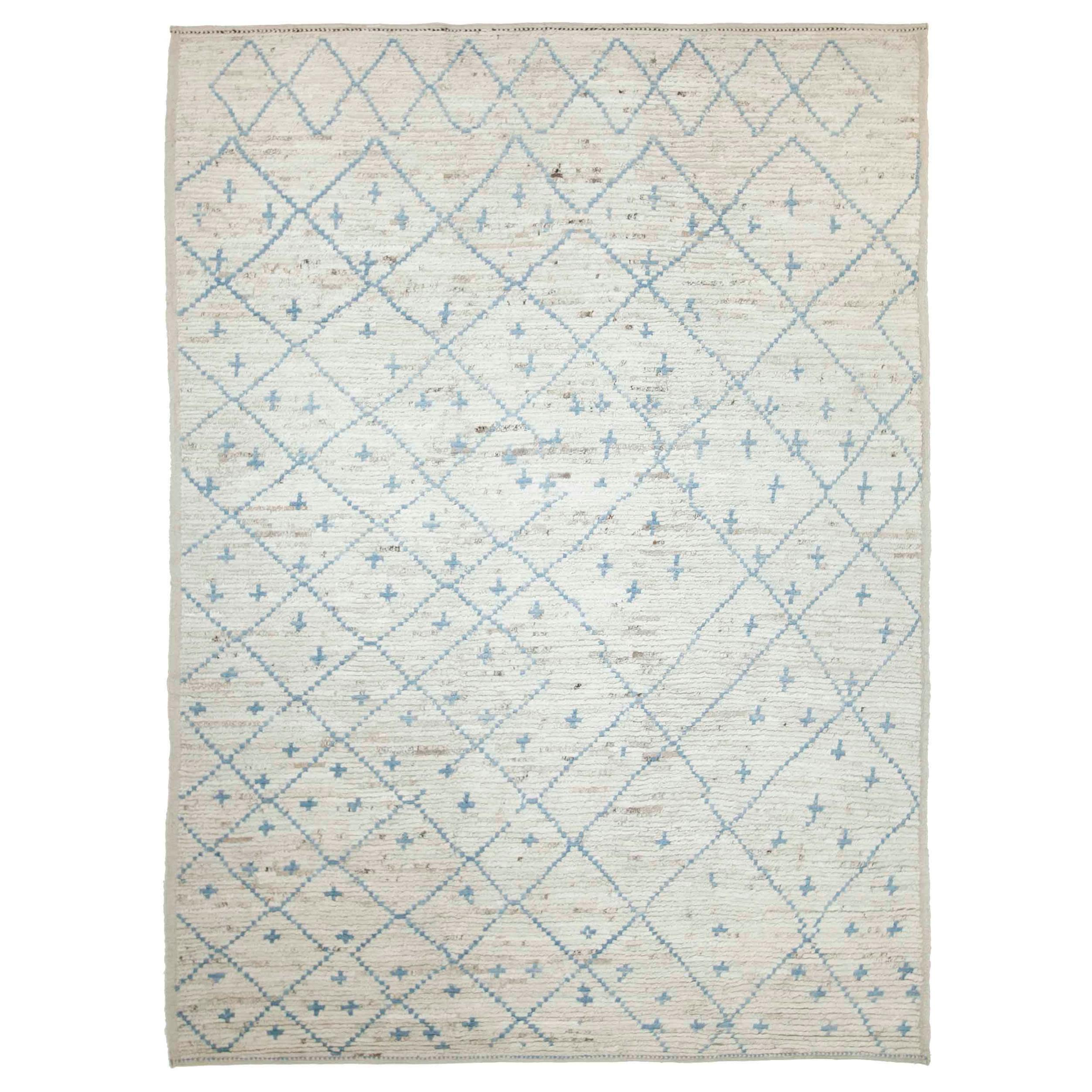 Modern Afghan Moroccan Style Rug with Blue Tribal Details on Ivory Field