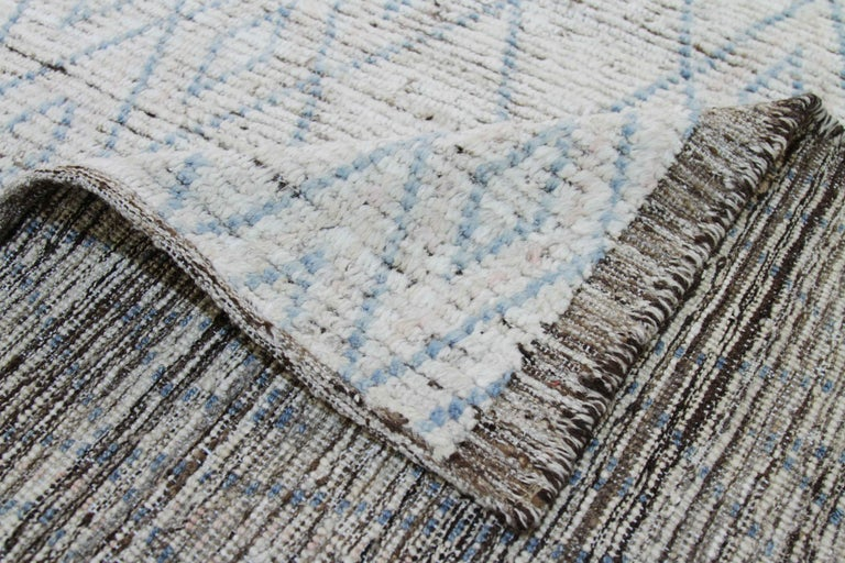 Wool Modern Afghan Moroccan Style Rug with Blue Tribal Diamond Details For Sale