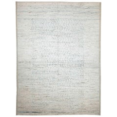 Modern Afghan Moroccan Style Rug with Blue Zigzag Details on Ivory Field