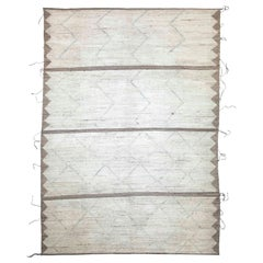 Modern Afghan Moroccan Style Rug with Brown and Gray Geometric Patterns