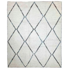 Modern Afghan Moroccan Style Rug with Brown and Blue Tribal Diamonds