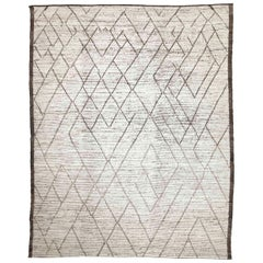 Modern Afghan Moroccan Style Rug with Brown Geometric Details on Ivory Field