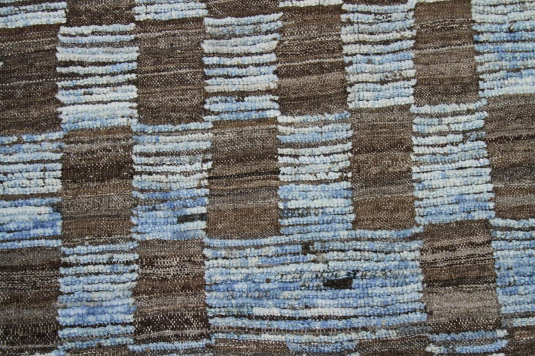 Tribal Modern Afghan Moroccan Style Rug with Brown Tile Details on Blue Field For Sale
