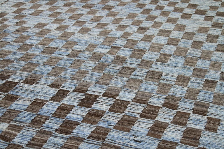 Hand-Woven Modern Afghan Moroccan Style Rug with Brown Tile Details on Blue Field For Sale