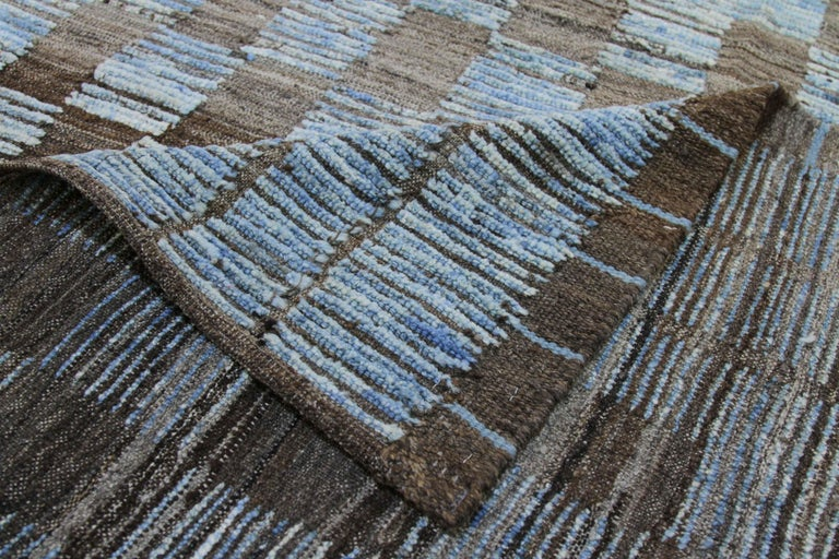 Contemporary Modern Afghan Moroccan Style Rug with Brown Tile Details on Blue Field For Sale