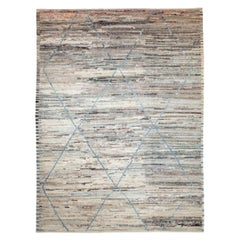 Modern Afghan Moroccan Style Rug with Brown Tile Details on Blue Field
