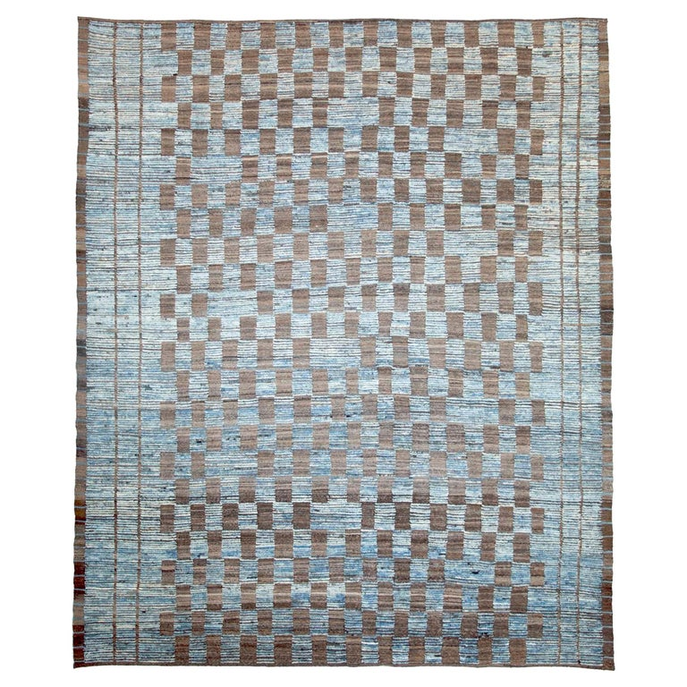 Modern Afghan Moroccan Style Rug with Brown Tile Details on Blue Field For Sale
