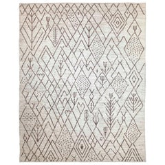 Modern Afghan Moroccan Style Rug with Brown Tribal 'Landscape' Details