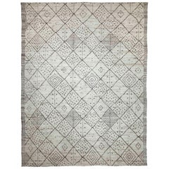 Modern Afghan Moroccan Style Rug with Brown Tribal Patterns on Ivory Field
