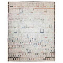 Modern Afghan Moroccan Style Rug with Colorful Geometric Details on Ivory Field