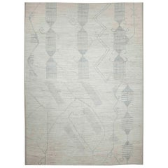Modern Afghan Moroccan Style Rug with Gray Geometric Patterns